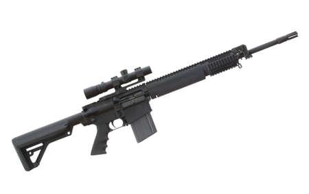 Heavy AR that has an optic on top and plenty of rails 版權商用圖片 - 14407450
