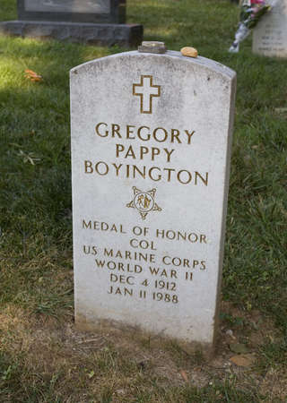 pappy: Marker for a World War II ace in Arilington Cemetery