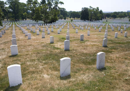 Long rows of grave markers at Arlington National Cemetery Stock Photo