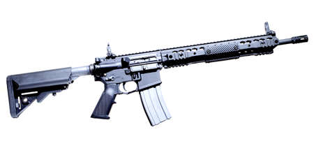 Semi automatic AR-15 that is isolated on a white background
