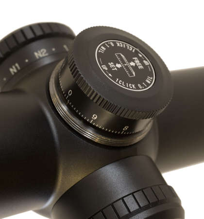 Knob that adjusts elevation on a tactical rifle scope