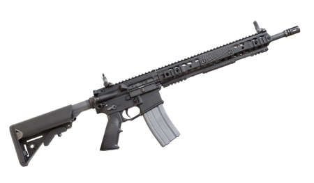 Modern semi automatic rifle that is isolated on a white background