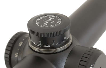Tactical rifle scope that can be adjusted for mil dots Stok Fotoğraf