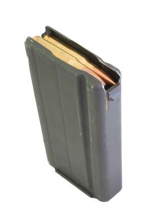 黒の高容量の雑誌に読み込まれた弾薬 写真素材 - 16435041