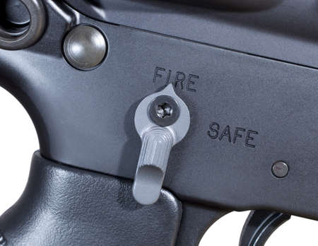 Ambidextrous fire controls on an AR rifle ready to fire Stock Photo - 16656599