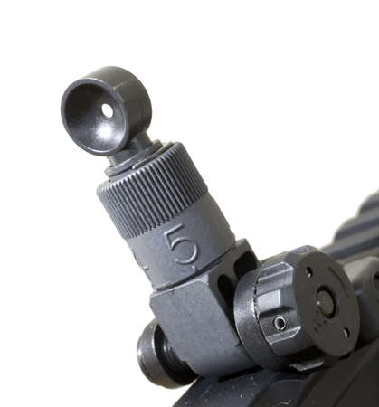 ar: Sight on the back of an AR 15 that is adjustable for windage Stock Photo
