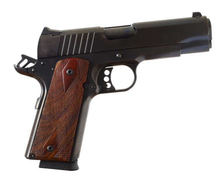 Pistol that is of the 1911 style by shortened to commander length Stock Photo - 16788576