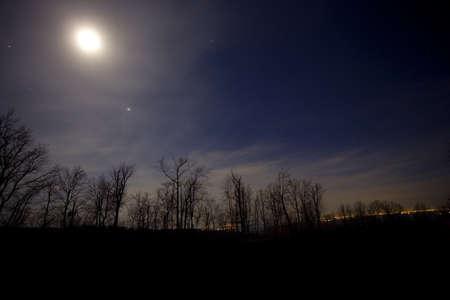 winchester: Luna che sta tramontando sulla Blue Ridge della Virginia vicino a Winchester Archivio Fotografico