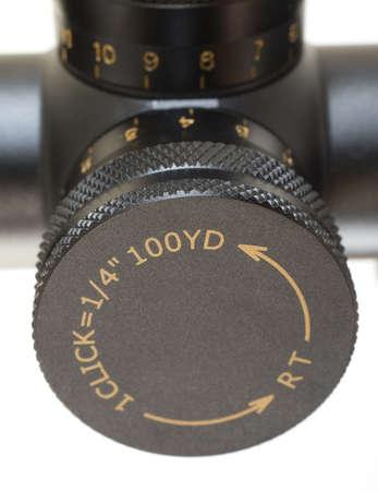 Knob that is used to adjust windage on a rifle scope Stok Fotoğraf