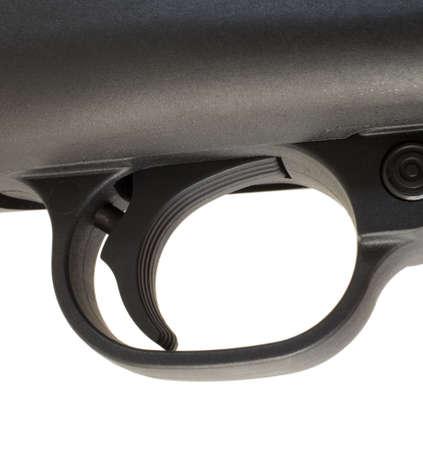 trigger: Rifle disparador que tiene texturas en su zapato para un mejor agarre Foto de archivo