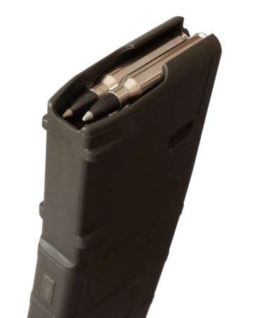 高容量のライフルの弾丸でマガジン ロード上 写真素材