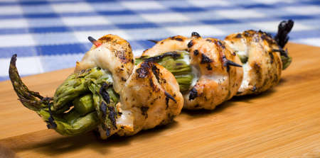 Asparagus stuffed chicken that has just come from the grill Stock Photo - 19562565