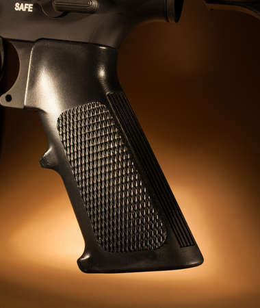 grip: Grip that is found on most modern sporting rifles Stock Photo