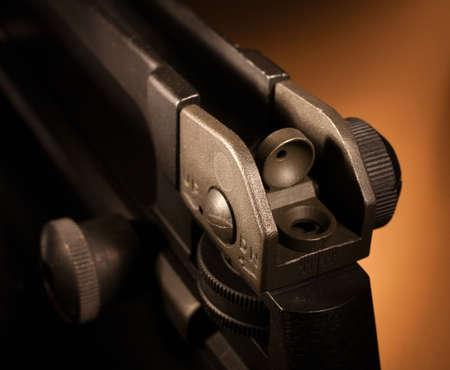 Rear sight found on some modern sporting rifles Фото со стока