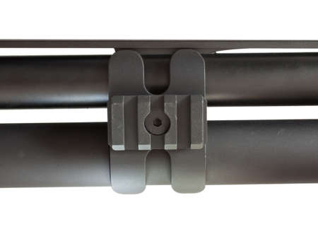 Isolated barrel clamp that is on a semi automatic shotgun Stok Fotoğraf