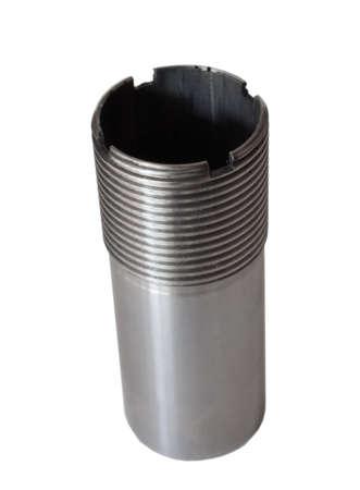 choke: Silver choke tube that is used on a shotgun