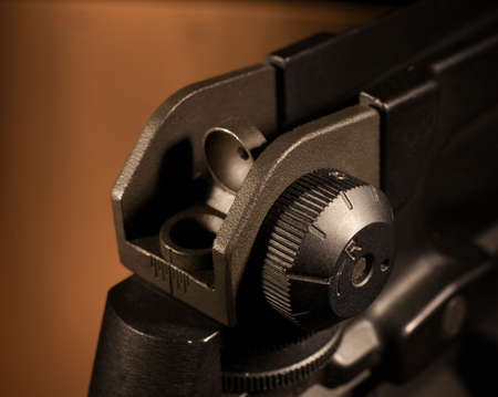 Peep sight on the rear of a modern sporting rifle