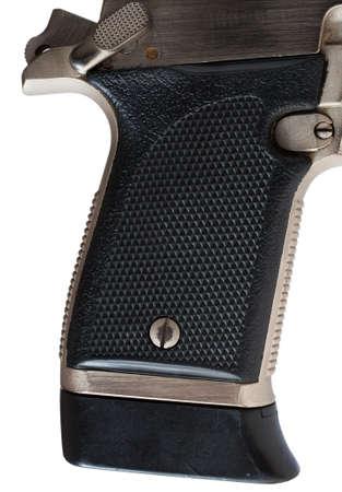 black grip: Black grip that is on a stainless steel handgun