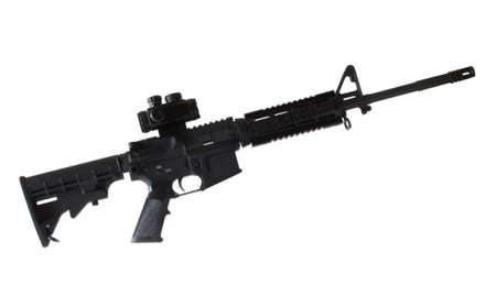 ar: AR 15 with a reflex optic that is isolated on white
