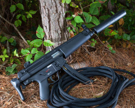 Assault rifle with a collapsible stock and suppressor 版權商用圖片 - 21657997