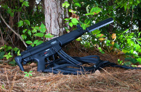 the silencer: Assault rifle with a silencer attached in the woods