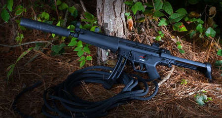 Adjustable stock and a silencer are features on this rifle