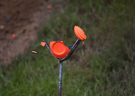 Clay target that has just been hit by a shotgun