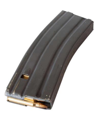中の真鍮同棲弾薬を持つ AR 15 のための雑誌 写真素材
