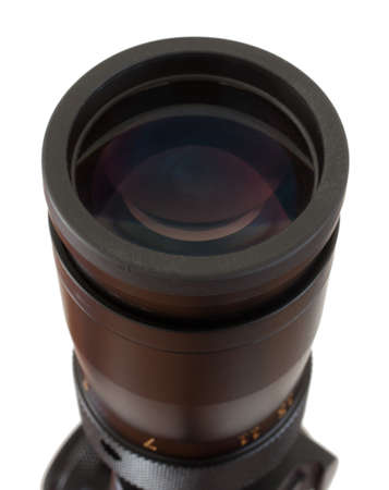high powered: Glass lens at the back of a high powered rifle scope Stock Photo
