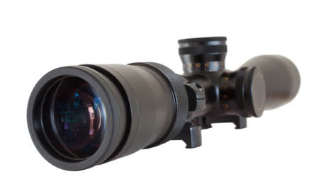high powered: Scope used on a high powered rifle isolated on white Stock Photo