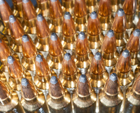 high powered: High powered rifle ammo group seen from the top Stock Photo