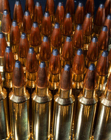 Rifle cartridges that are long and tall for added gun powder Stock Photo