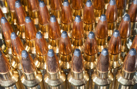 high powered: Plenty of ammunition that is designed for a high powered rifle Stock Photo