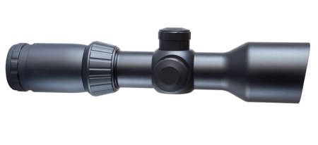 high powered: Isolated black scope that is used on a high powered rifle Stock Photo