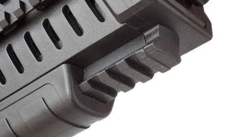 front end: Rail on a modern rifle that is underneath the front end of the gun