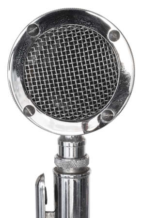 wire mesh: Microphone with wire mesh atop on a white  Stock Photo