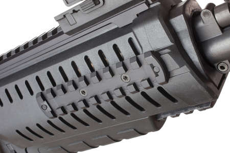 semi automatic: Side rail on the front of a black modern semi automatic rifle