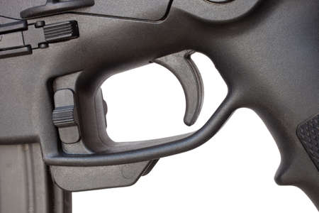 trigger: Trigger that is on a new semi automatic rifle Stock Photo