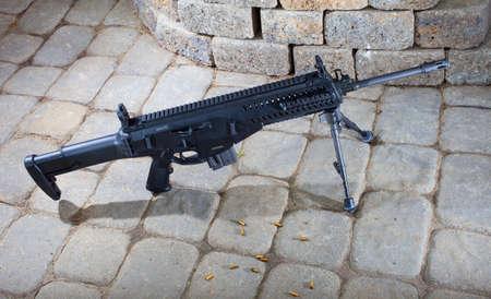 chambered: Black semi automatic rifle chambered in 22 on gray bricks