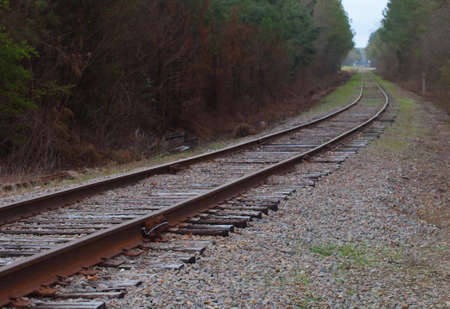 forest railroad: Railroad tracks making a curve through a North Carolina forest Stock Photo