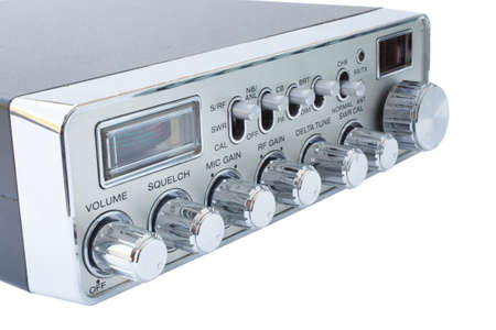 cb: Chrome faced cb radio that is isolated on white Stock Photo
