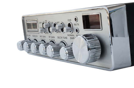 cb: CB radio with dials from an angle isolated on white