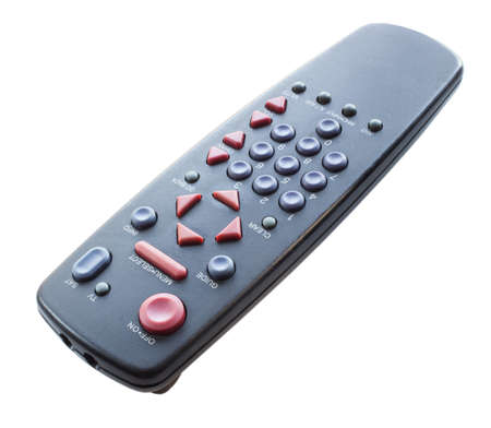 Black television and satellite remote control isolated on white