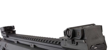collapsible: Flattop rail and collapsible sights on a modern rifle Stock Photo