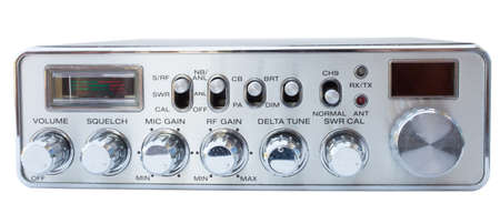 cb: Isolated old CB radio with lots of dials and buttons Stock Photo
