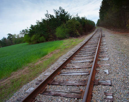 Railroad tracks in North Carolina running into the distance photo