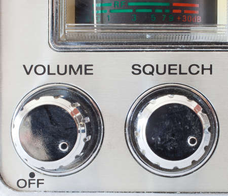 squelch: Knobs that control volume and squelch on a cb radio Stock Photo