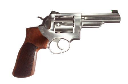 grip: Revolver with a stainless barrel and wood grip on white