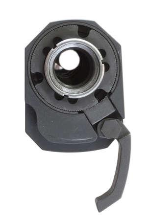 the silencer: Lever open on a silencer near the threaded end