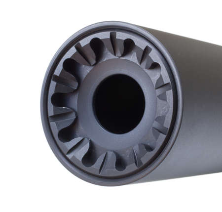 Front face of a suppressor isolated on a white background